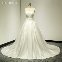 Strapless Pearl Beaded Satin Wedding Gown Bridal Dress Real Photo Factory Custom Made