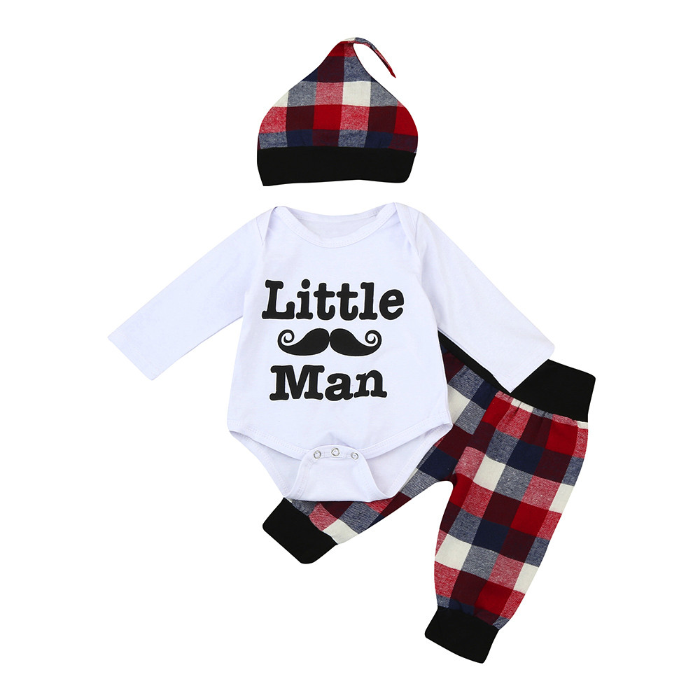 3pcs Toddler Infant Baby Boy Girl Letter Clothes Set Costume for boy newborn clothes roupa infantil Romper Pants Hat Outfits
