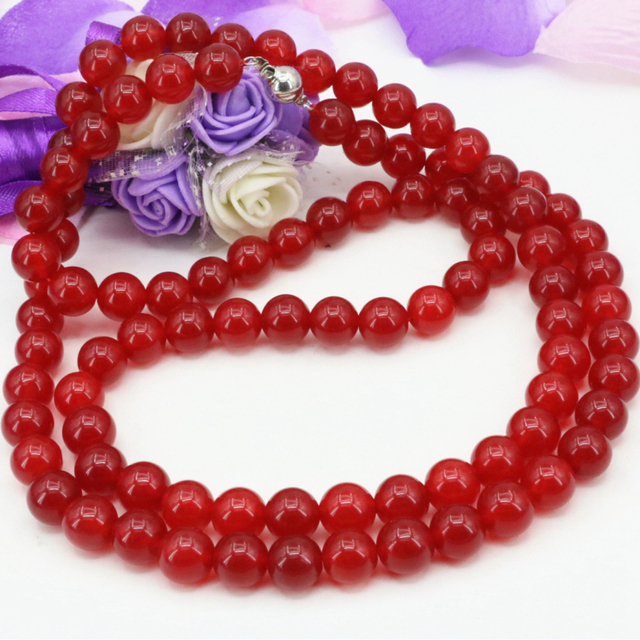 New fashion charms natural round jasper red jade chalcedony 10mm beads long chain necklace for women gifts jewelry 34inch B3210