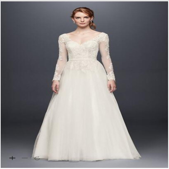 2017 Long Sleeve Wedding Dress With Low Back Beaded Lace Appliques