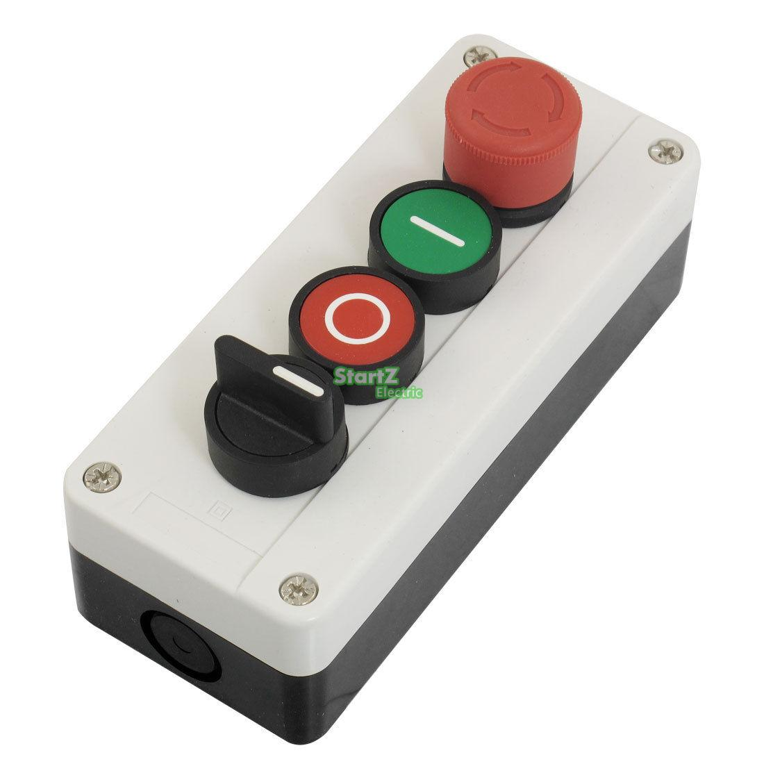 цена на Momentary 3 Postion Selector Red Green Emergency Stop Pushbutton Switch Station