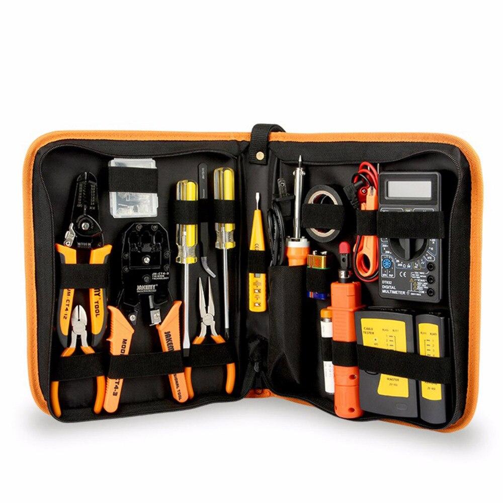 JM-P15 17Pcs Electronic Maintenance Tools Set Soldering Iron Metal Spudger Pliers Tweezers Digital Multimeter Repair Tools Kit