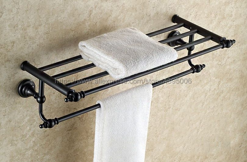 Black Oil Rubbed Bronze Bathroom Towel Rail Holder Rack Double Wall Mounted Shelf Bar Bathroom Accessories