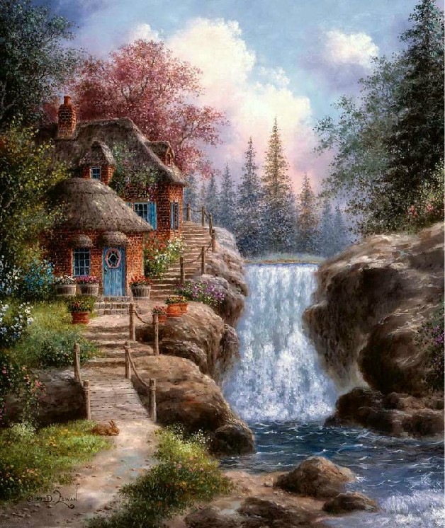 Idyllic Waterfalls Scenery Embroidery Needlework Forest 14CT Counted Unprinted DMC DIY Cross Stitch Kits Handmade Art Wall Decor