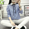 2016 Women Shirt Blouses Long Sleeve Peter pan Collar Elegant Ladies Cotton Blouse Tops Bow Tie Office Work Wear Chemise Femme