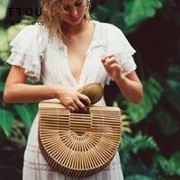 TTOU Summer Half Round Handmade Bamboo Beach Bag Environmental Circular Basket Bamboo Bags Rural Countryside Vacation