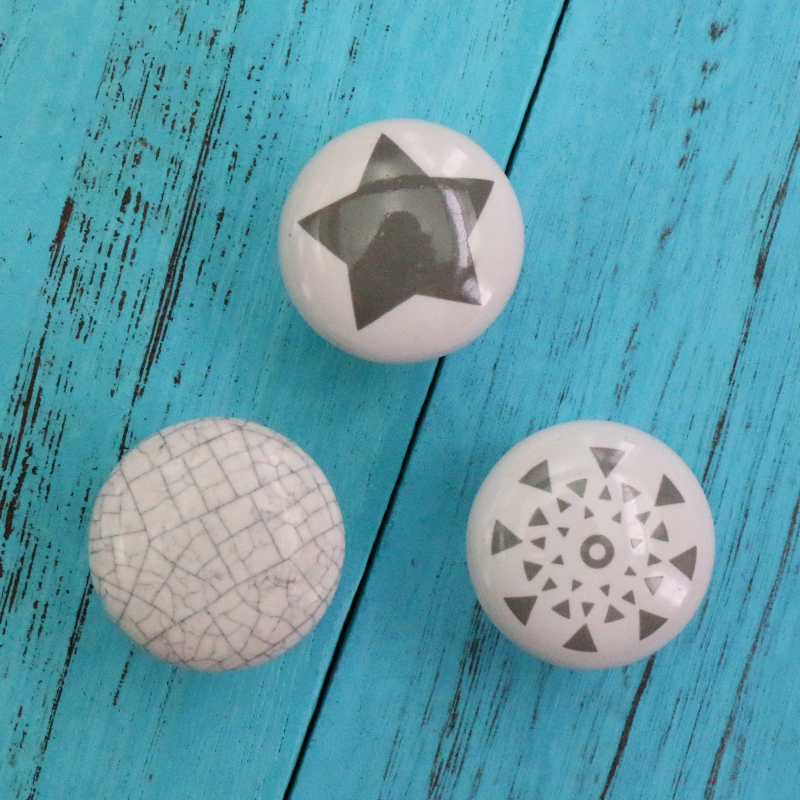 1x Vintage Hand Painted Star Crackle Ceramic Knob Kitchen Cabinet Furniture Drawer Cupboard Closet Handle Pulls with Screw in Cabinet Pulls from Home Improvement
