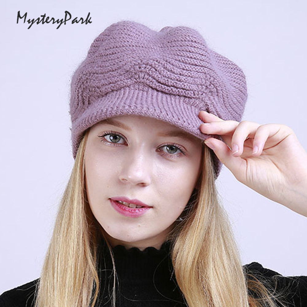 MysteryPark 2017 New Cotton Fleece Rabbit Fur Hat Female Elegant Women Knitted Warm Winter Hats Skullies Beanies Christmas Gift velvet thick keep warm winter hat for women rabbit fur knitted beanies ladies female fashion skullies elegant hats for women