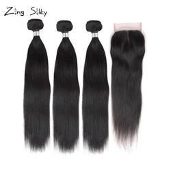 Натуральный Черный Прямо бразильский человеческих волос Связки с закрытием Weave 3 пучки волос поставщиков Связки с Cosure