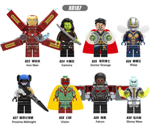 цена на X0187 LegoINGly Avengers Captain Marvel Ant Super Hero The spider Iron Man grout supergiant Wasp Building Blocks Toy For Childre