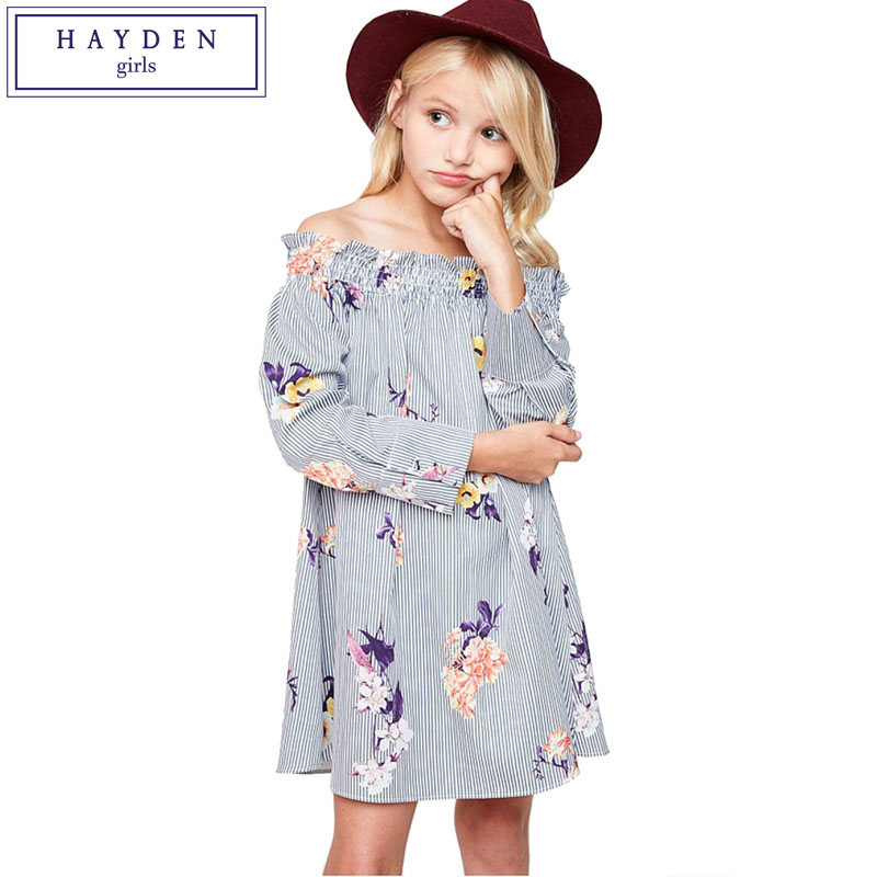 HAYDEN Girls Off Shoulder Floral Dress Teen Girls Long Sleeve Dresses 2017 Fall Brand Designer Clothes for Teenagers Age 7 to 14 yisuya minimalist creative new arrival genuine leather quartz fashion trendy wrist watch women nature wood bamboo analog clock