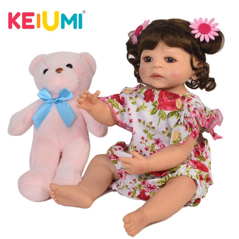 """KEIUMI dulce 22 """"55 cm renacer chica de vinilo de cuerpo completo de silicona renacer muñecas del bebé bebe realista princesa cumpleaños de los niños regalos de navidad-in Muñecas from Juguetes y pasatiempos    1"""