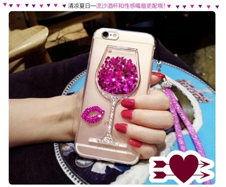 Dot Me Glitter Liquide Quicksand Diamant Vin Verre Baiser Housse Pour Samsung Galaxy S9/8/7/6 Bord Plus Note 8 5 4 3 2 S5/4/3