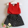 New 2pcs Baby Girl Clothes Set Sleeveless T-shirt+ Polka Dot Skirt Outfits Children Clothing