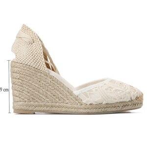 Image 4 - Tienda Soludos Cap Toe sandały na koturnie z wysokim obcasem dla kobiet, klasyczne miękkie kostki sznurowane espadryle buty kostki pasek na co dzień