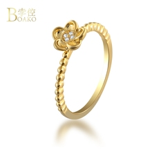 BOAKO Delicate Zircon Crystal Five Petals Flower Rings for Women Ladies Girls Fashion Gold Color Finger Ring bague femme B3 недорго, оригинальная цена
