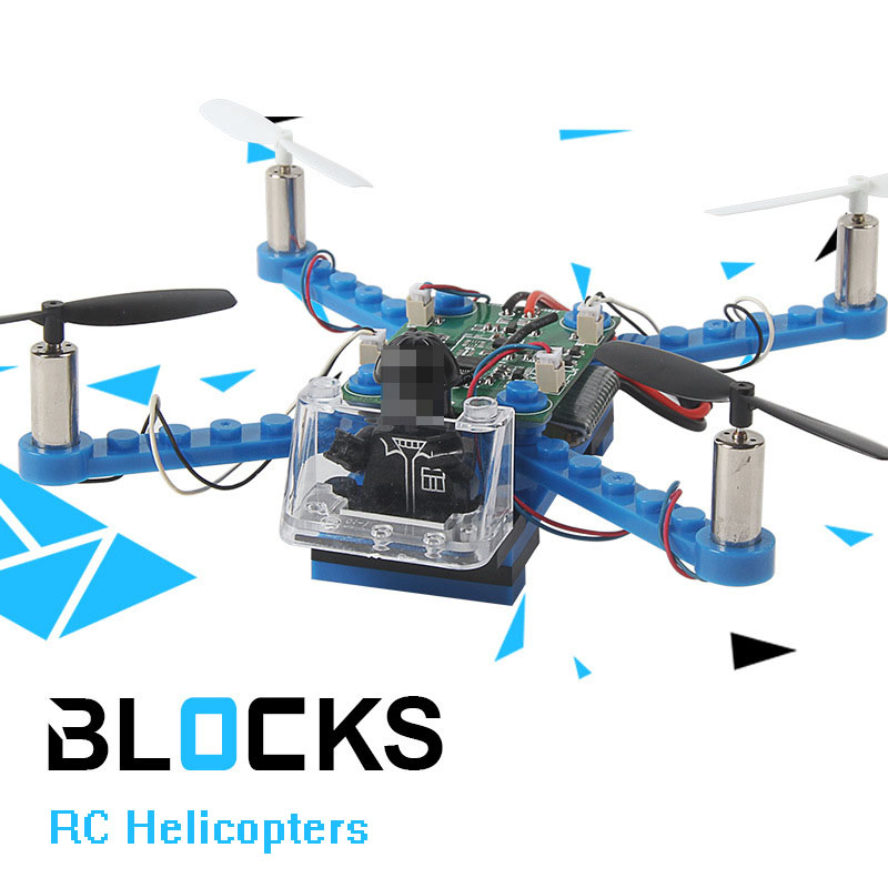RC Helicopter DIY Building Blocks Drone 2.4G 4CH Mini Drones 3D DIY Bricks Quadcopter Assembling DIY Educational Toys