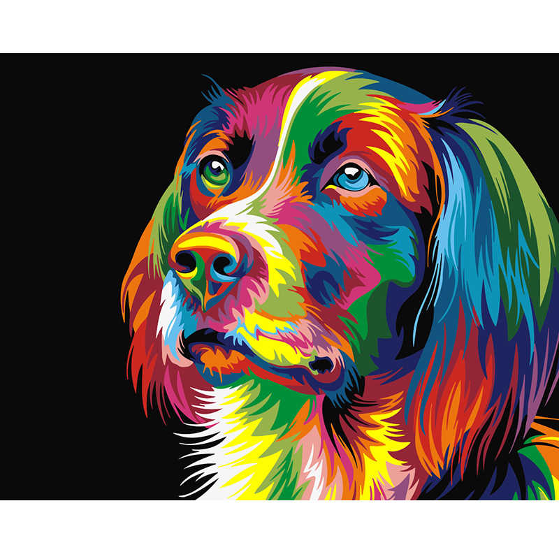 Frameless picture on wall acrylic oil painting by numbers Animal abstract dog drawing by numbers gift paint by numbers 40X50CM