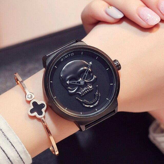 Gimto бренд Винтаж череп Для женщин Часы большой циферблат Сталь под старину золотистый и черный женские любитель роскошных часов Водонепроницаемый мужской женский часы
