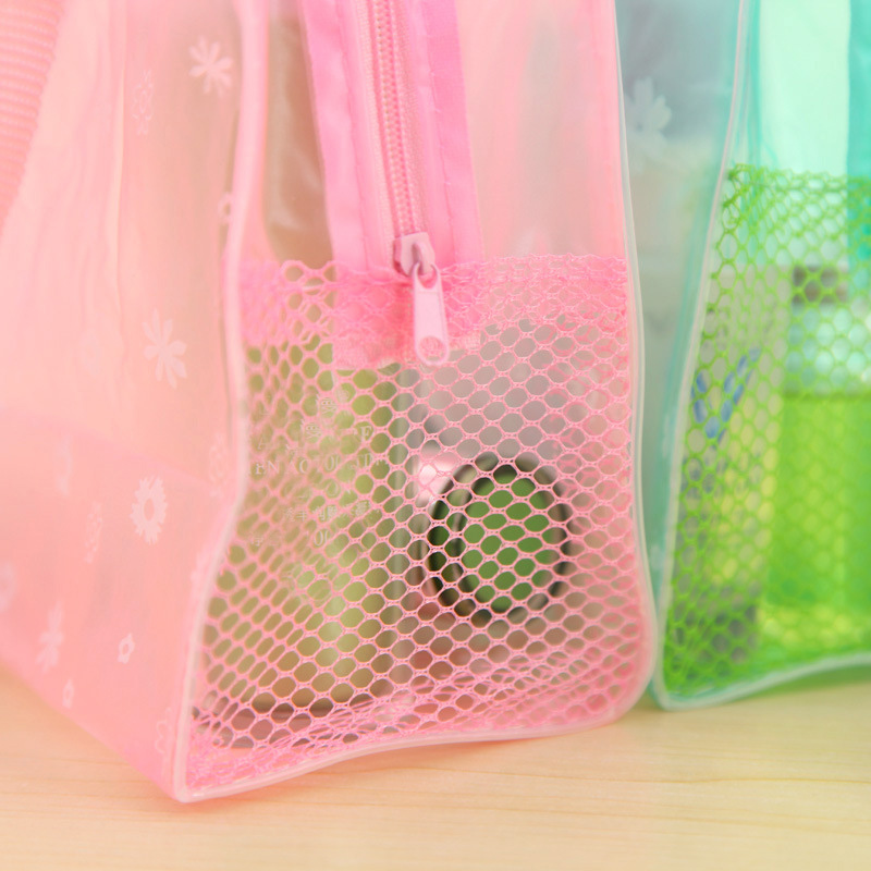 eTya 5 Colors Make Up Organizer Bag Toiletry Bathing Storage Bag women waterproof Transparent Floral PVC Travel cosmetic bag 3