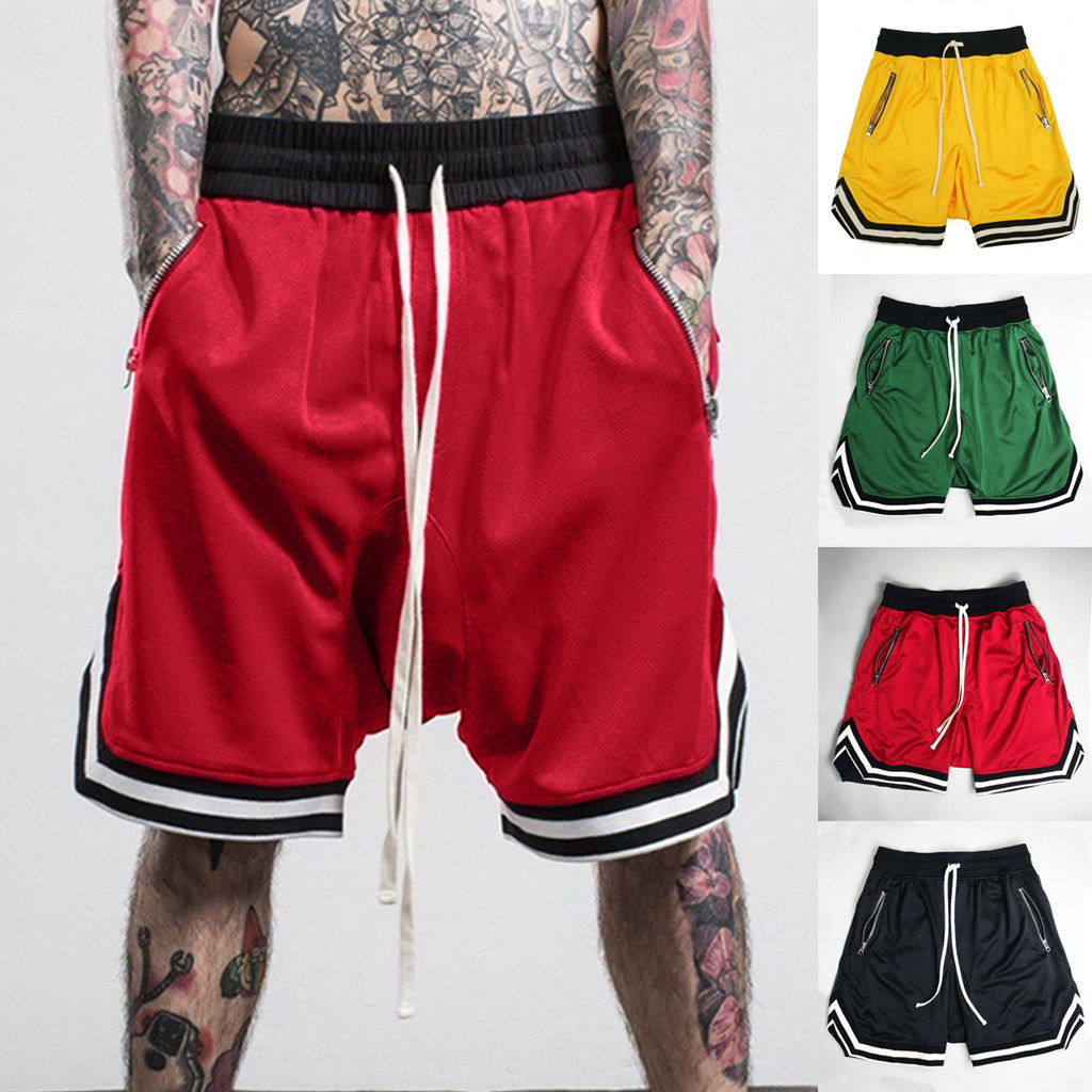 Short Masculino Fashionable Mens Shorts Elastic Rope Stretch Mesh Pocket Casual Plain Sports Shorts Masculino Men's Clothing