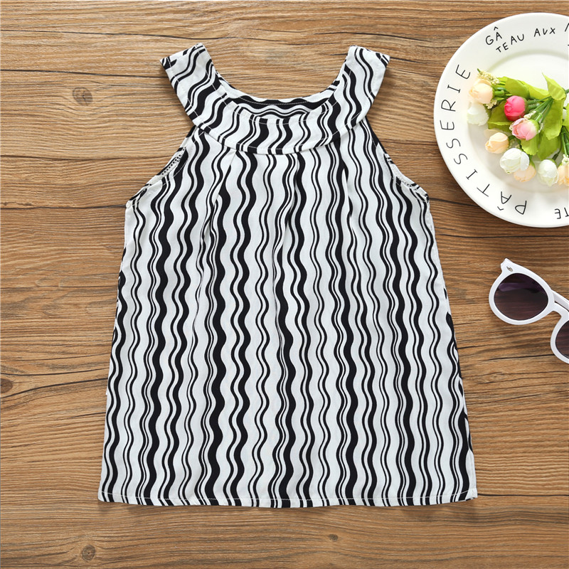 2-6Y Baby Girls Dress Summer Kids Birthday Dress Cute Princess Dress Kids Girls Clothing Black Wave Line Striped Dress A-line