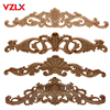 VZLX European Decals Solid Wood  Applique Long Flower Pieces Vintage Home Decor Decoration Maison Carved Accessories Modern 1