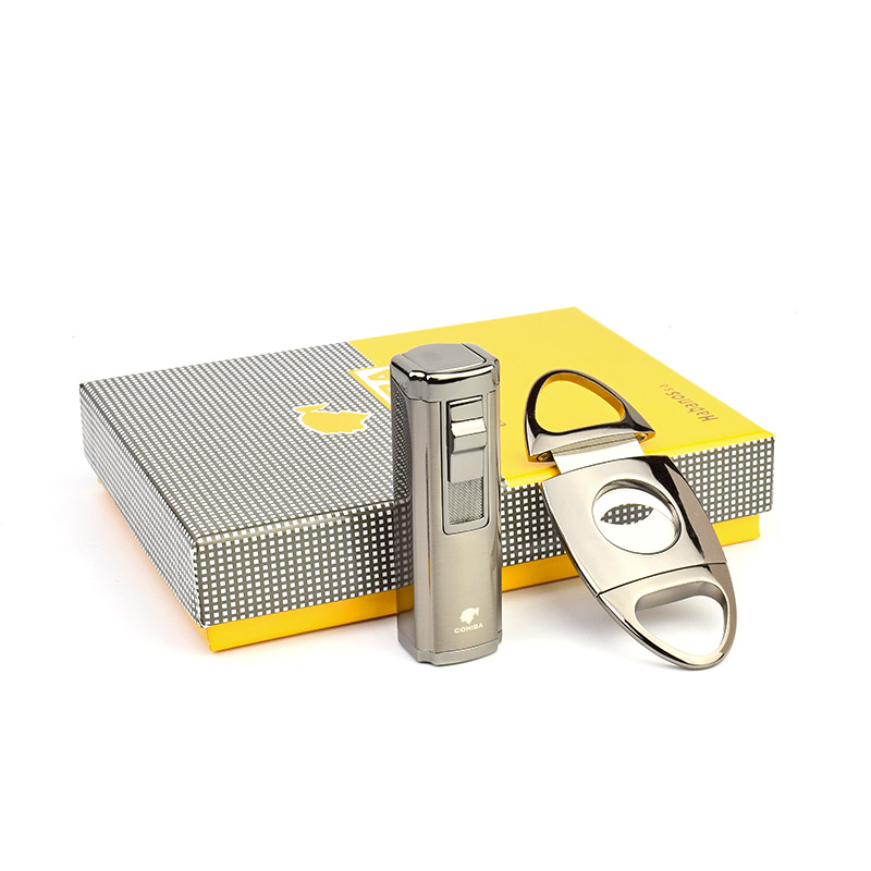 COHIBA Fine Cigar Suit with 3 Jet Flame Cigarette Cigar Lighter and Cigar Cutter/ Scissors, without Gas Lighter