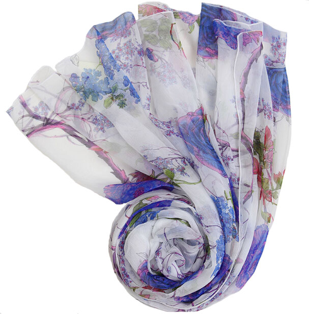 100% Nature Soie multifonctionnel bandeau foulards de soie Petite fleur imprimé bleu blanc couverture magique collier écharpe
