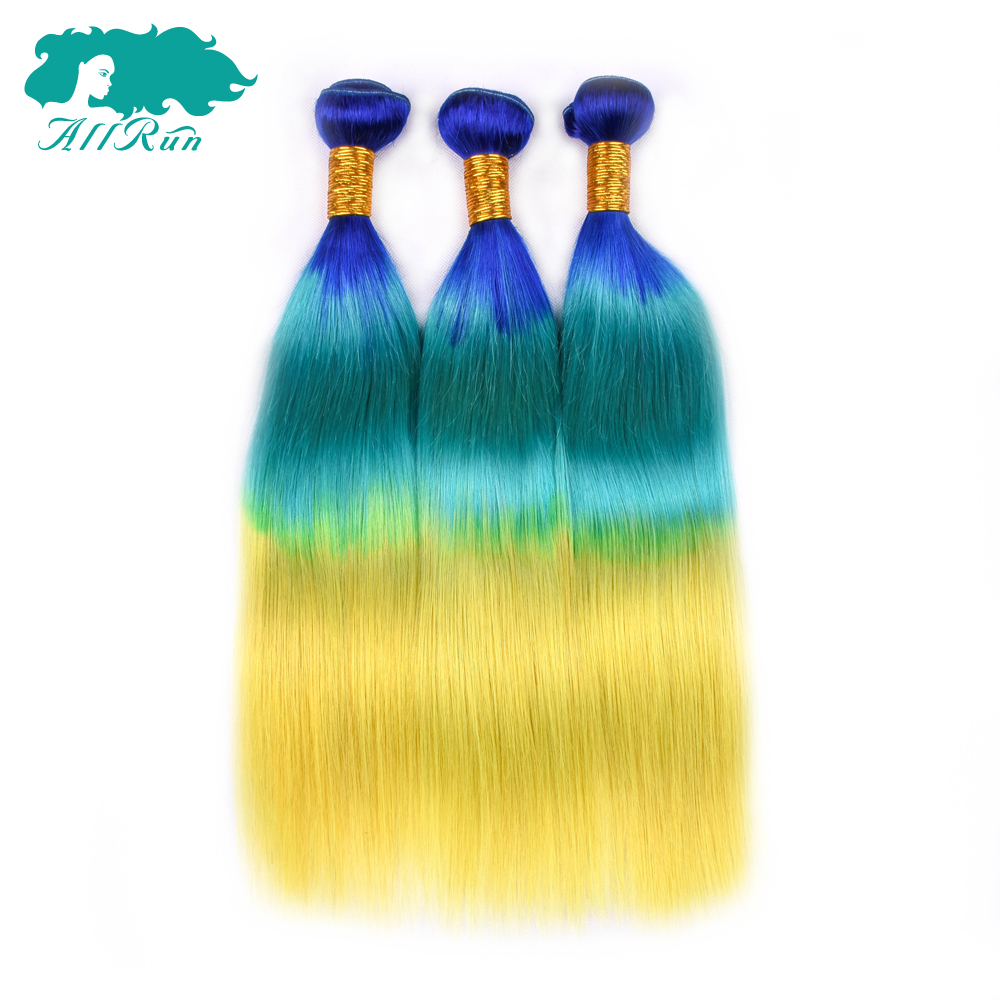 Allrun Blue/Green/Yellow 3 Bundles Straight Hair Extensions 3 Tone Brazilian Ombre Human hair bundles Dark Root Non Remy