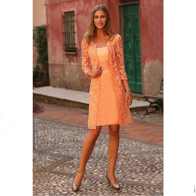 Honey qiao mãe das rendas vestidos de noiva com jaqueta longa orange duas peças lace voltar zipper formal vestido mulheres plus size