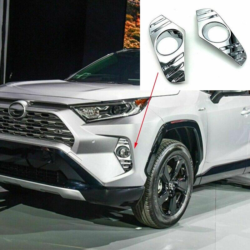 For Toyota RAV4 2019 ABS Chrome Car Exterior Front Fog Light Lamp Cover Trim