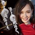 Novo Luxo Cristais Completa Pave AAA Top CZ Diamante Brincos Flor Oscile Brincos de Noiva Famosa Marca para As Mulheres