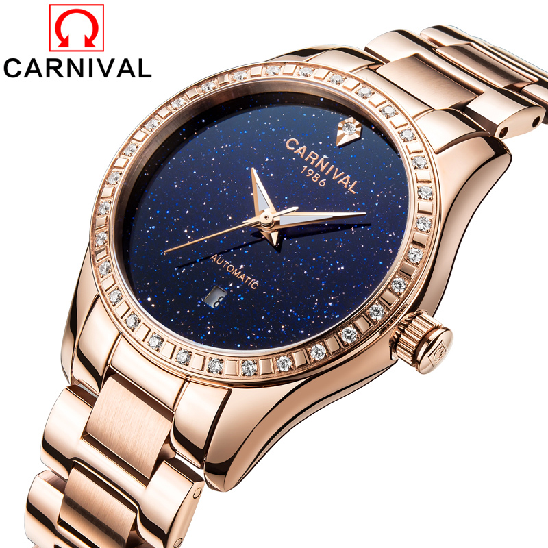 Carnival Watch Women Automatic Mechanical Luminous Rose Gold Stainless Steel Waterproof Blue Dial Watches rolex datejust blue dial automatic stainless steel and 18k yellow gold mens watch 116233blsj
