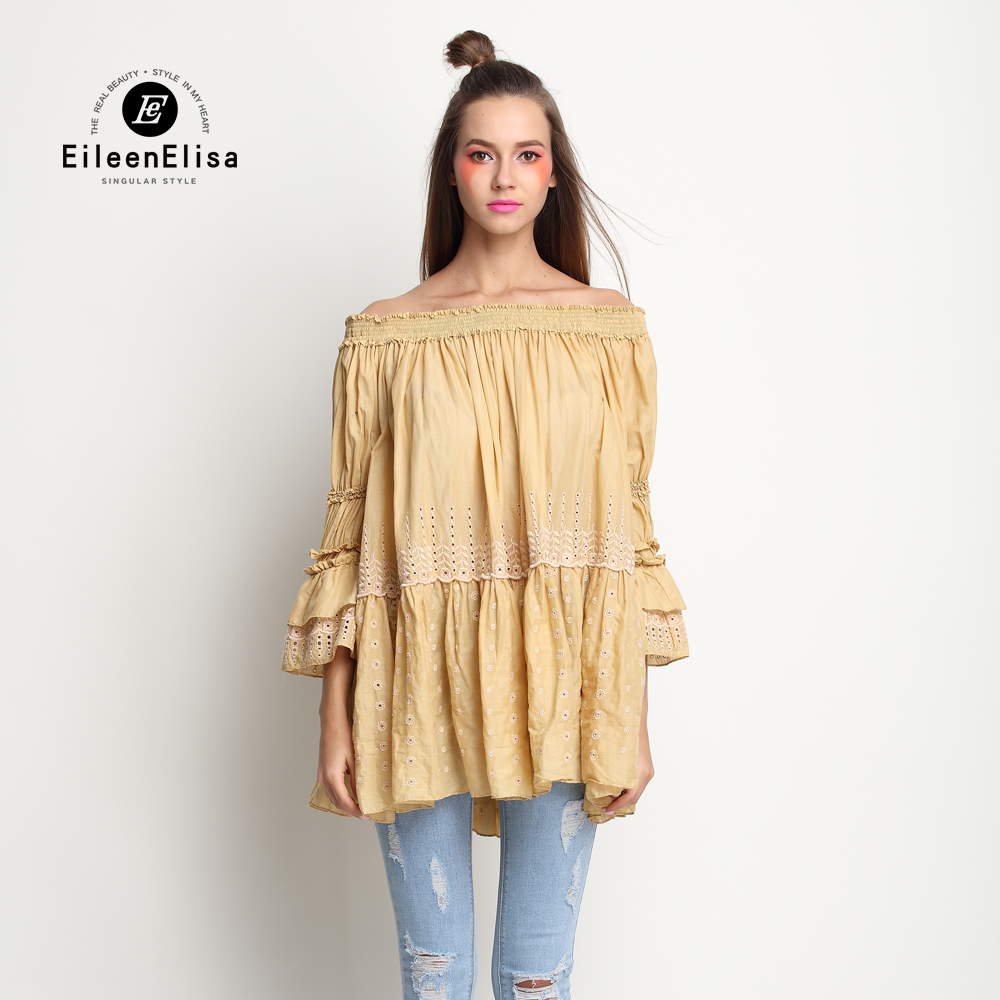Slash Neck Women Top Off Shoulder Women Ruffles Top Work Yellow Women Tops ...