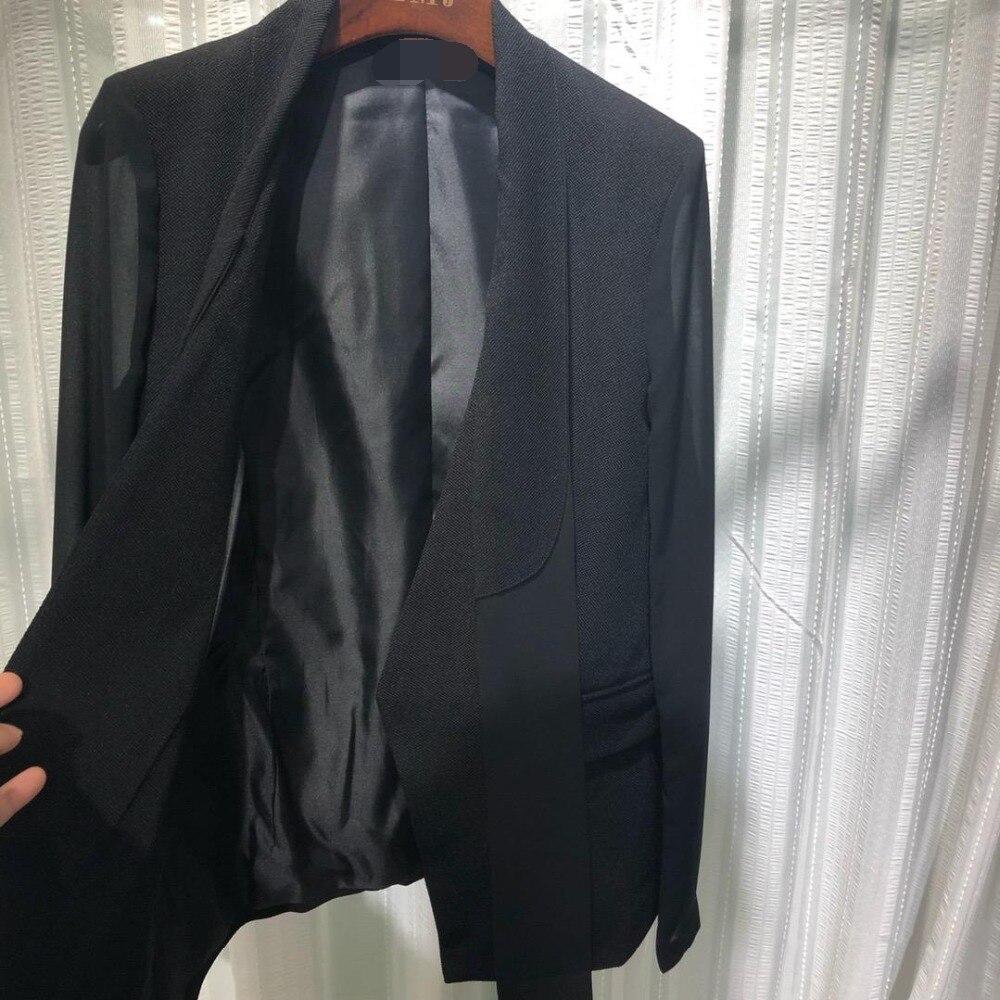 Femelle Supérieure Mode Col Manches V Longues 0315 De Noir 2019 Banderoles Printemps Qualité À Noire Veste AqT5xwB