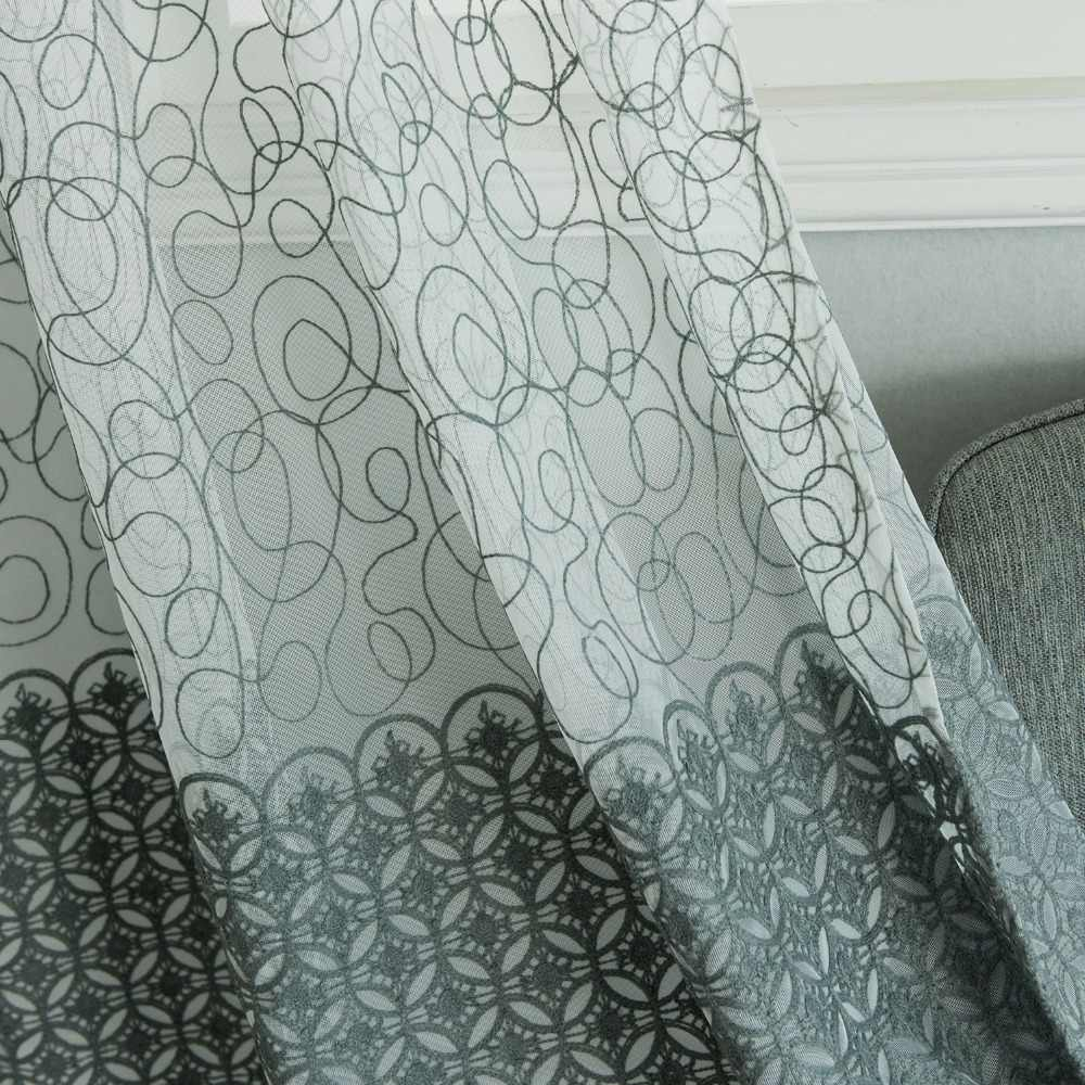 Topfinel Bird Nest&Endless Cotton Gray Embroidered Window Sheer Voile Tulle Net Curtains Drapes For Kitchen Living Room Bedroom