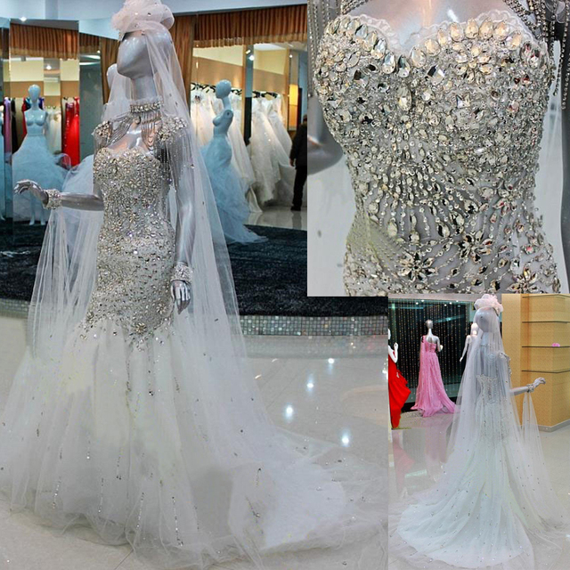 Buy real picture korean crystal for Bling corset mermaid wedding dresses