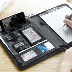 Multifunctional leather file folder A4 zipper bag manager bag with ipad cellphone stand with elastic rigid USB fasterner 1105E