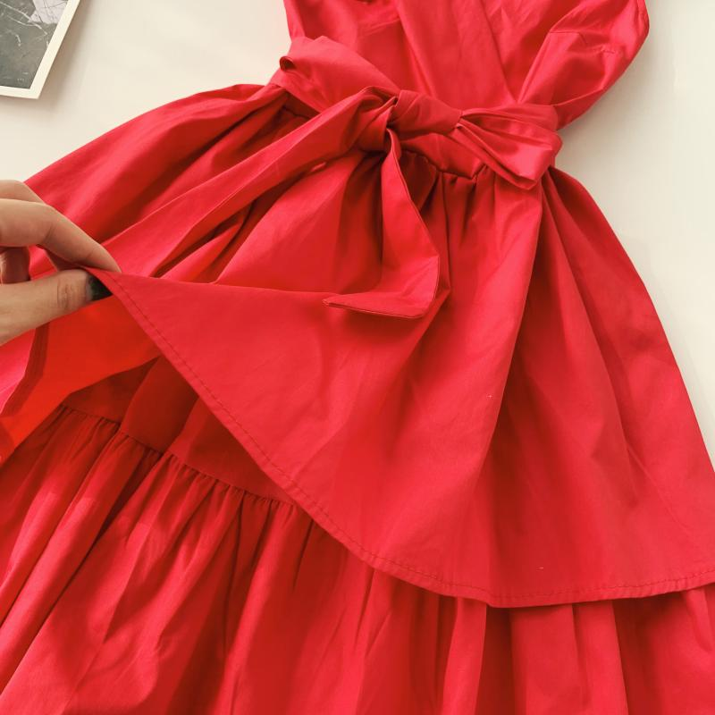 Korean Vintage Pure V Collar Sleeveless High Waist Bow Tie Double Ruffle Holiday Dress Women Vestidos E348 66
