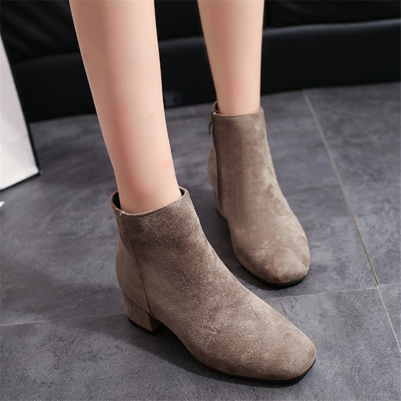 COOTELILI Ankle Boots Women Heels Casual Shoes Woman Faux Suede Black Boots For Female Flock Chelsea Botas Mujer Square Toe enmayla autumn winter chelsea ankle boots for women faux suede square toe high heels shoes woman chunky heels boots khaki black