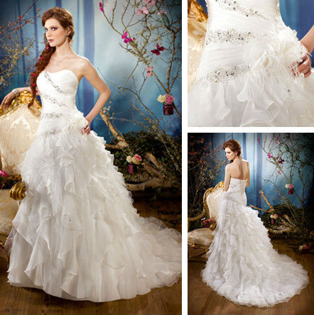 2017 new design hot sale affordable females the novelty organza discount wedding dresses of royal