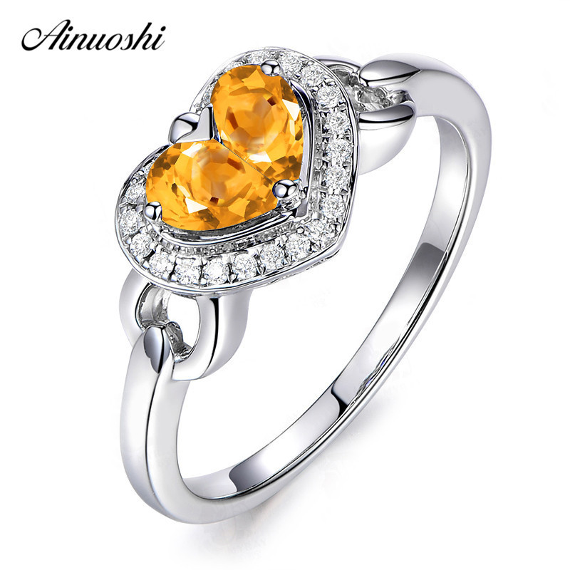 AINUOSHI Natural Citrine Heart Halo Ring 1ct Pear Cut Gems Pure 925 Silver Heart Ring Trendy Engagement Party Jewelry Women RingAINUOSHI Natural Citrine Heart Halo Ring 1ct Pear Cut Gems Pure 925 Silver Heart Ring Trendy Engagement Party Jewelry Women Ring