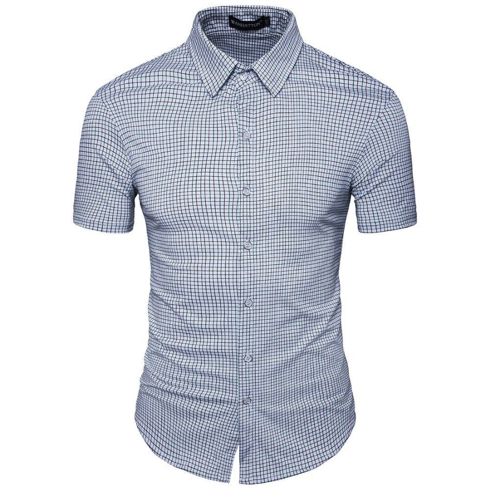 New listing mens brand business Slim short-sleeved shirt mens dress shirt fashion small plaid trend casual short-sleeved shirt