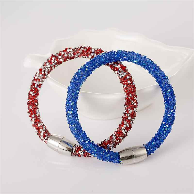Mesh Crystal Cuff Star Bracelet for women With Crystal stones Filled Magnetic Clasp Charm Bracelets Bangles Hot