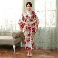Vintage Japońskich Kobiet Satin Kimono Yukata Haori Z Obi Suknia Wydajność Kostium Klasyczne Odzież jeden rozmiar Azji H0055