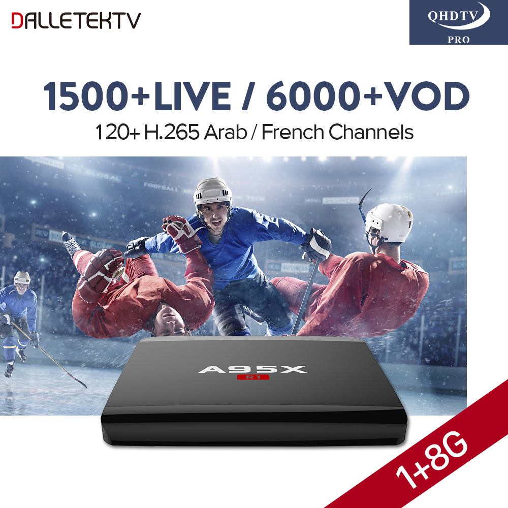 IP TV Box Arabic QHDTV PRO Code Subscription 12 Months A95X R1 Smart Android 7.1 Set Top Box IPTV Europe French Arabic IPTV Box