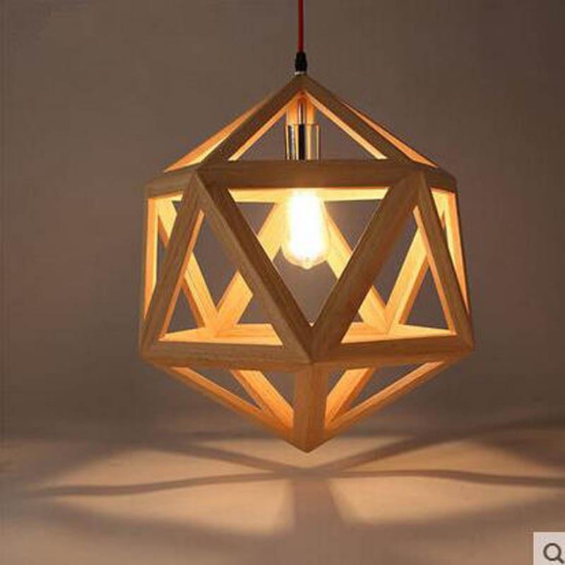 Eenvoudige Verlichting Bar Licht Industriële Wind Hout Kroonluchter Persoonlijkheid Hexahedron Diamanten Kroonluchter Led Verlichting Armatuur Led