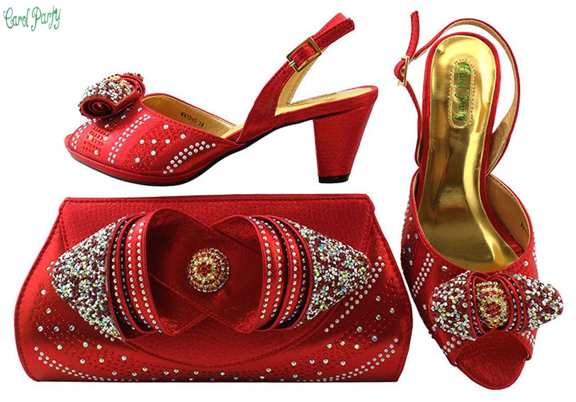 Fashion Shoes and Bag Set High Quality Matching Italian Shoes and Bag Set Decorated with Rhinestone   MM1045