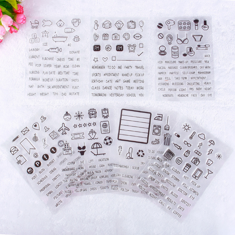 1 Sheet Home DIY Silicone Transparent Clear Seal Stamp DIY Scrapbooking Phote Album Diary Craft